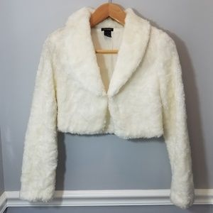 Cream Cool Attitudes Faux Fur Cropped Jacket